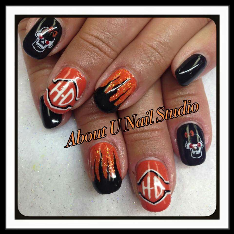 Harley Davidson nail art, Nail Innovationz gel nail products - Harley Davidson Nail Art, Nail Innovationz Gel Nail Products Nail
