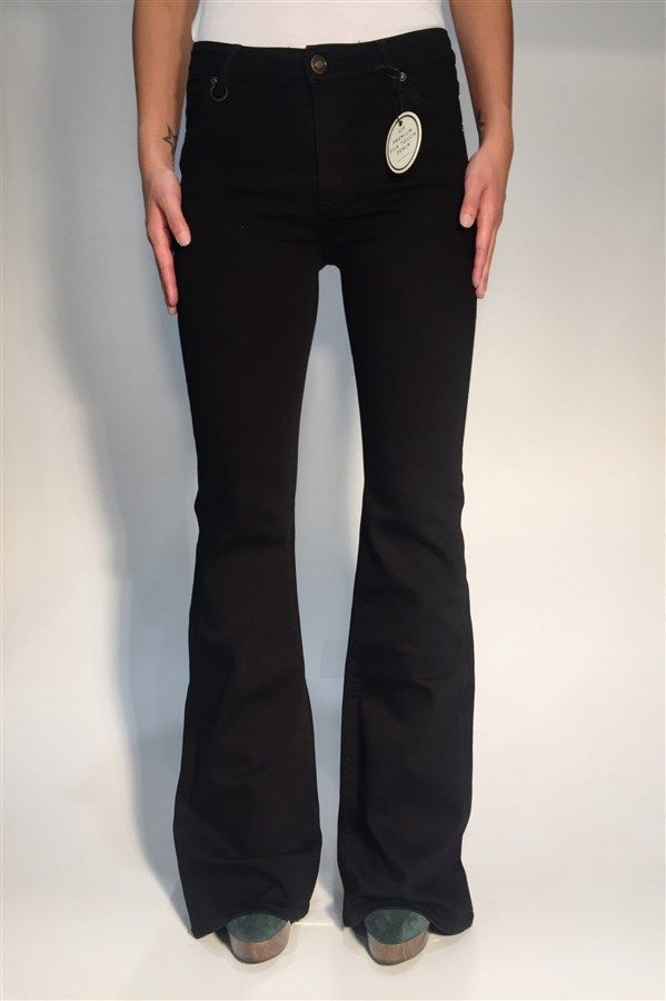 Neuw Kick Flare - Colour Black Silk, Features Include, Zip Fly, Five pocket detailing, Low Rise, High Stretch Silk Touch Denim, 43% Viscose, 27% Cotton, 14% Modal, 14% Polyester, 2% Elastane. Model measures to size 24 inch waist 32 inch length -  Wears size 24 inch waist 32 length.