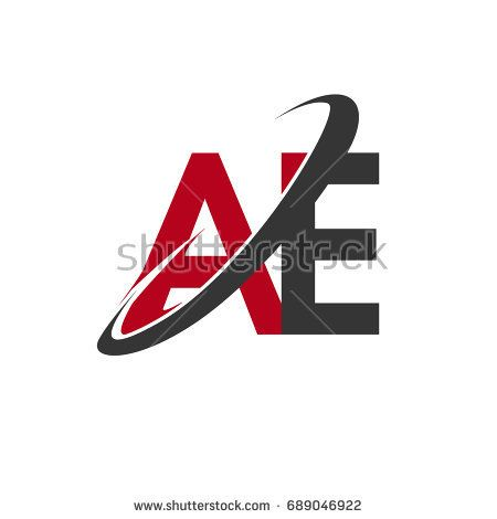 Ae Initial Logo Company Name Colored Red And Black Swoosh Design