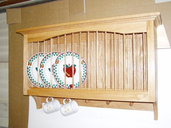 Solid Oak Plate and Mug Rack