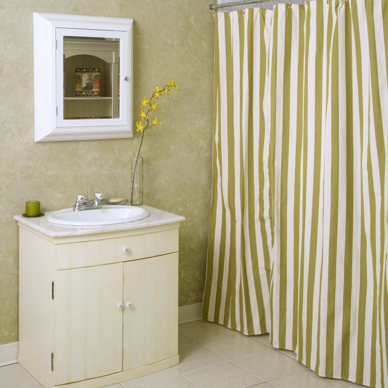 Summer Palm Stripe Shower Curtain