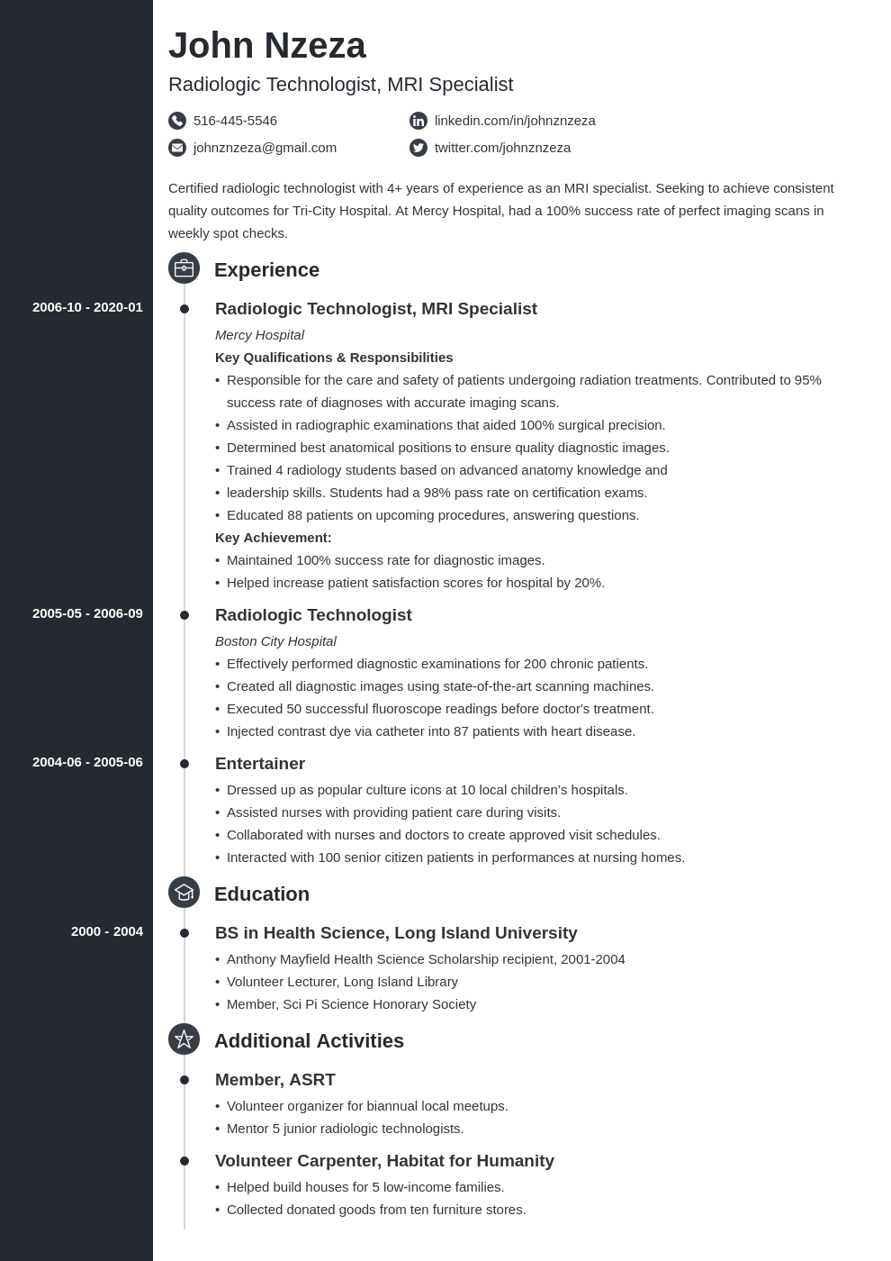 Radiologic Technologist Resume Example Template Concept In 2020 Resume Examples Radiology Technologist Resume