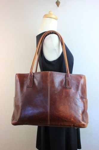 Authentic Fossil Genuine Leather Brown Tote Bag Carry on Purse Luggage Used  10I  9a4f7ecdadb