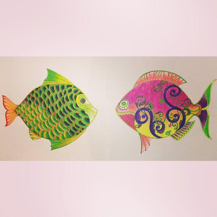 """""Quem me dera ser um peixe.."" #oceanoperdido #lostocean #fish #paint #pintar #arteterapia #arttherapy #therapy #colorir #fabercastell…"""