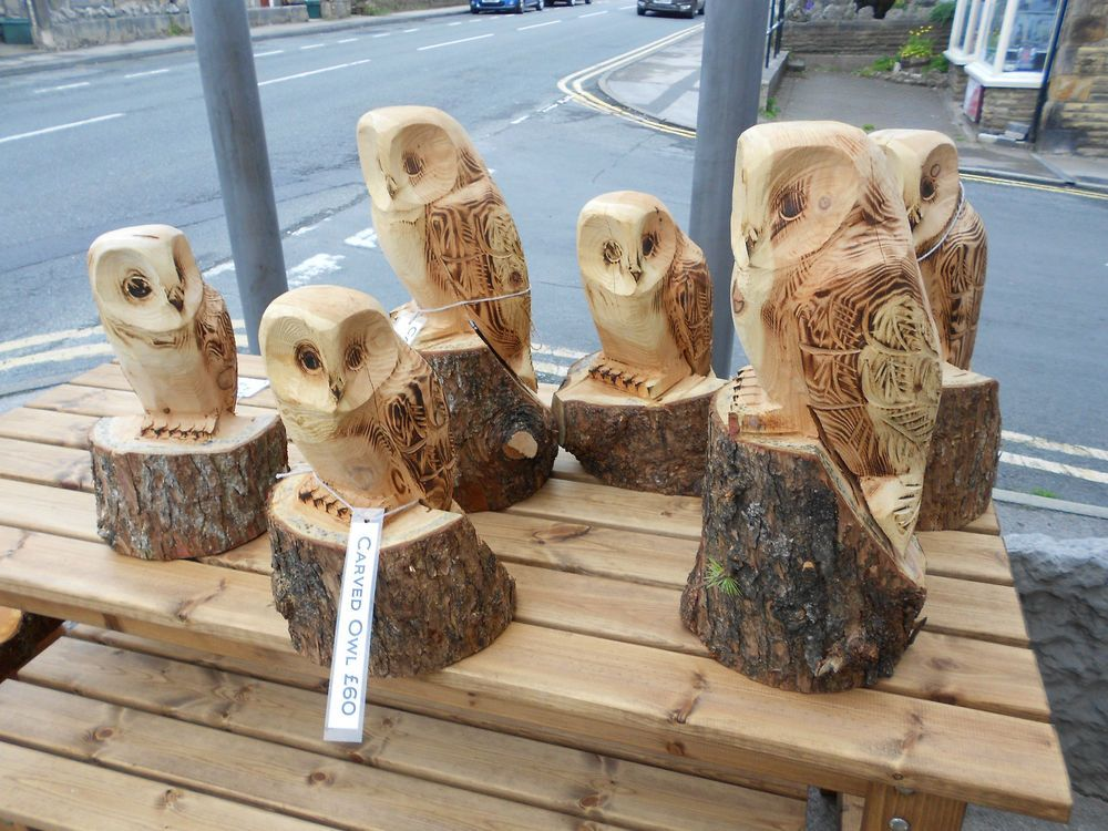 Chainsaw carved owl ornamental garden patio feature