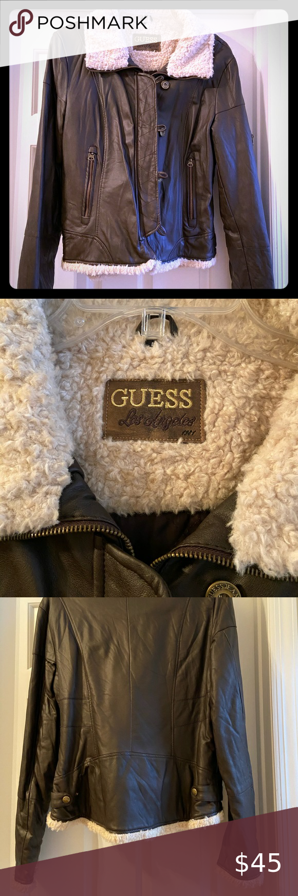 Guess Brown Leather Jacket With Shearling Accents In 2021 Leather Jacket Brown Faux Leather Jacket Brown Leather Jacket [ 1740 x 580 Pixel ]