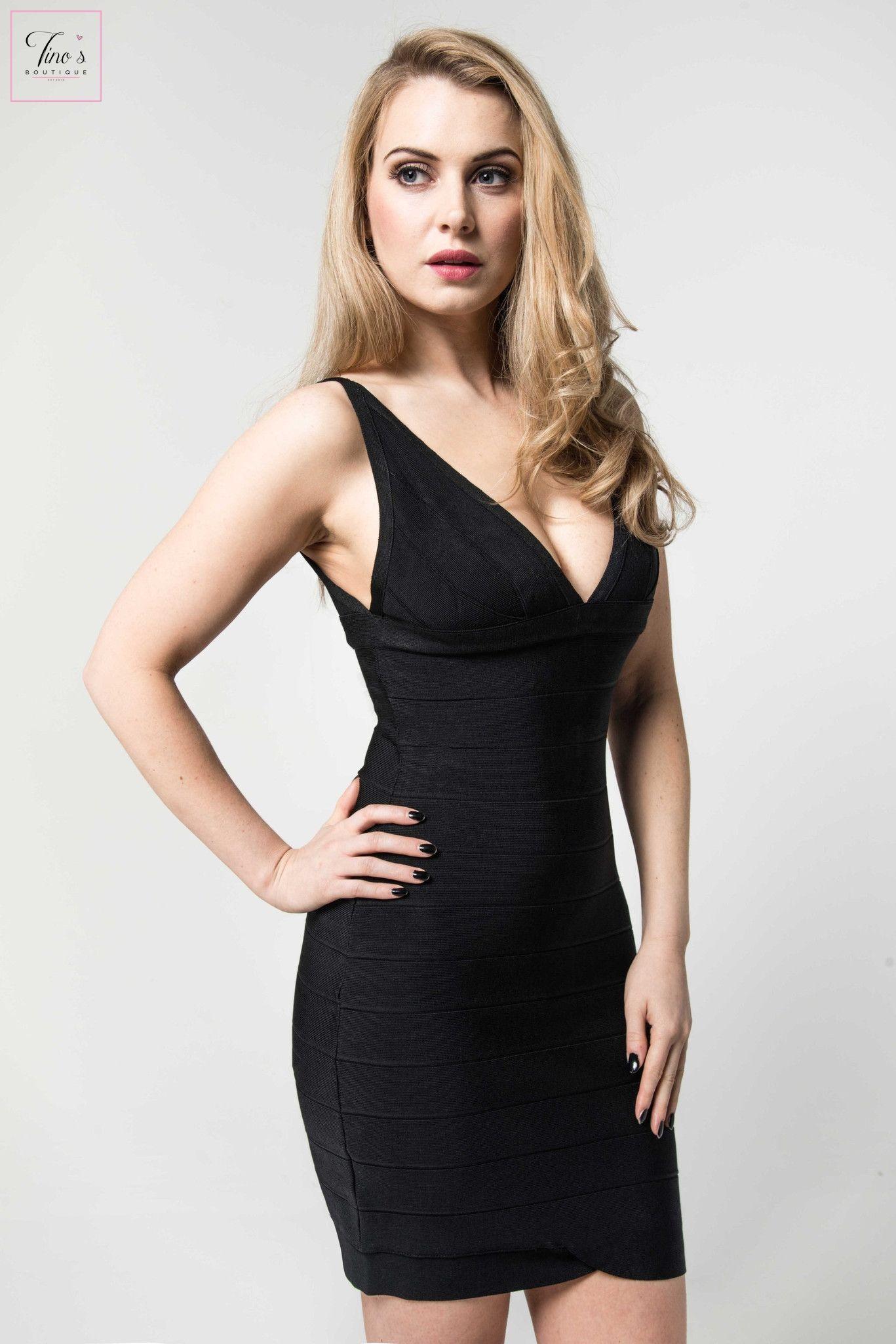Bijouu black plunge neck bandage dress bandage dresses pinterest