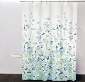 Amazon.com: DKNY FALLING PETALS Cotton Fabric Shower Curtain Blue, Green,  Aqua Floral Pattern On White: Home U0026 Kitchen