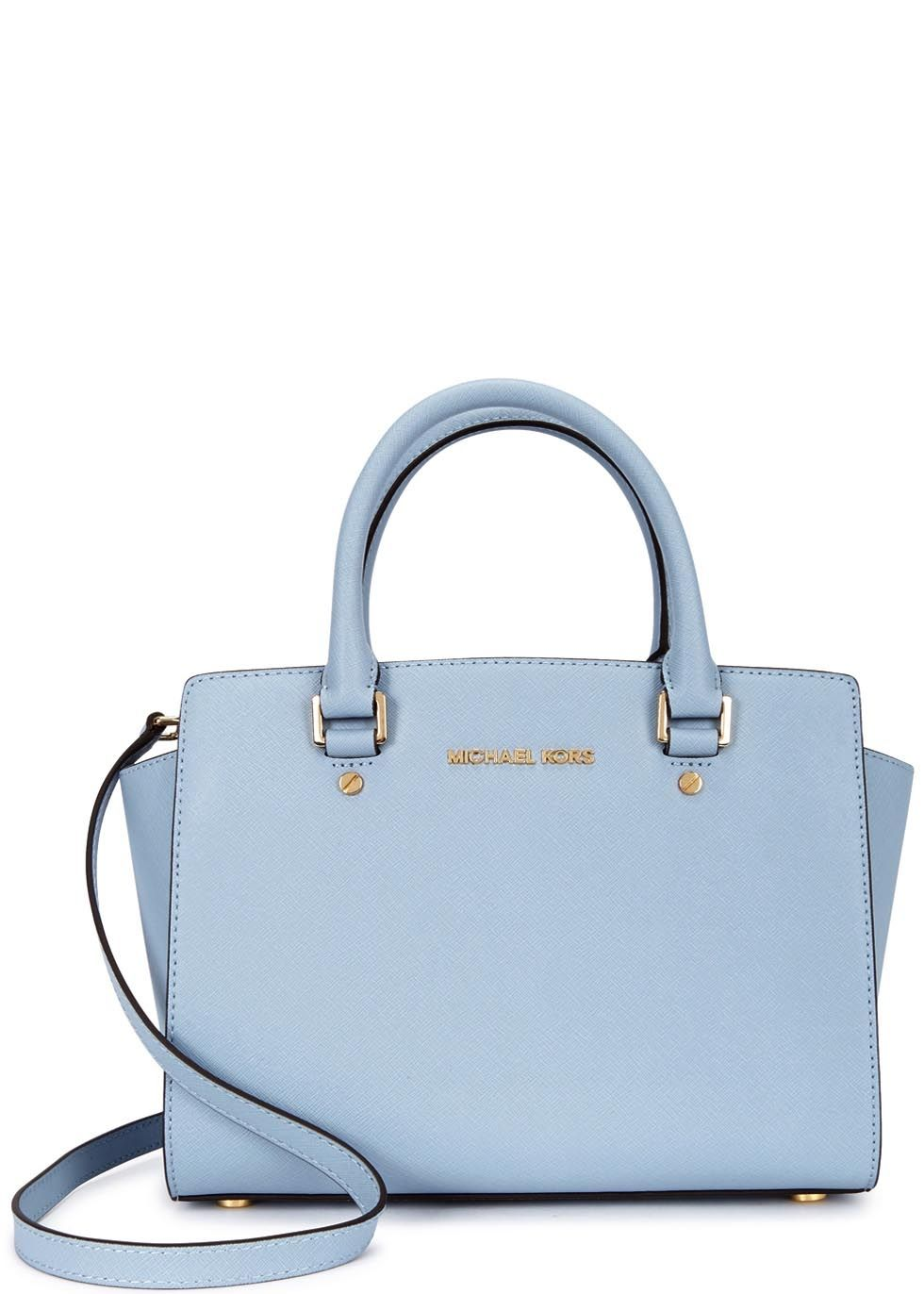 Michael Kors powder blue saffiano leather tote Two top handles ...