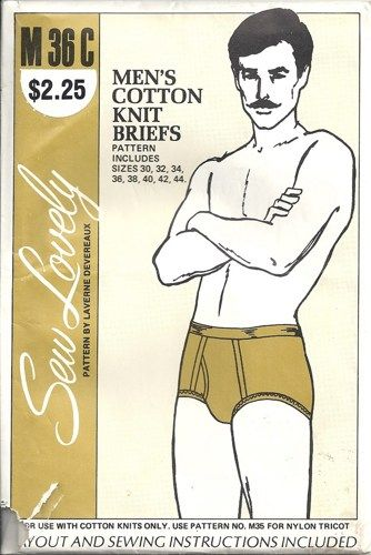 Sew Lovely Mens Cotton Briefs Vintage Sewing Pattern 30 32 40 42 44