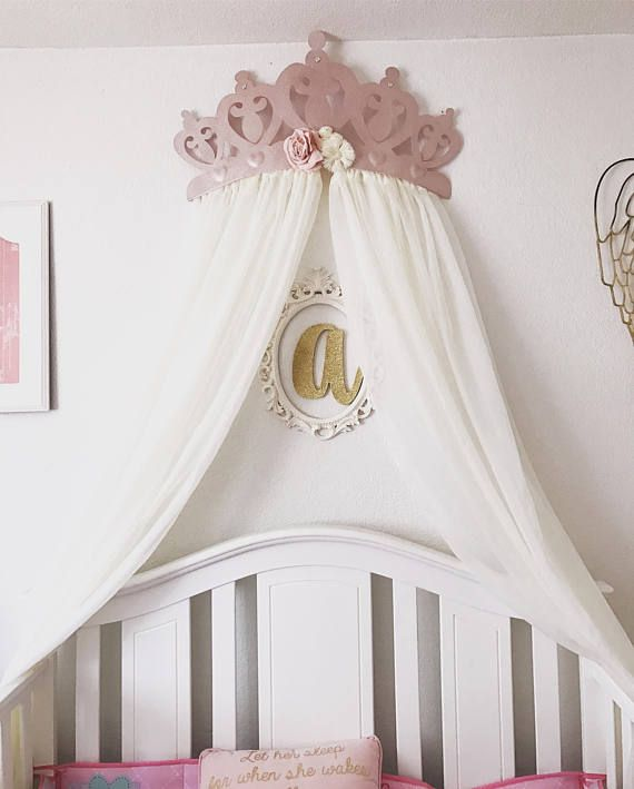 Crib Canopy Bed Crown Rose Gold Flower Pink Princess Wall & Crib Canopy Bed Crown Rose Gold Flower Pink Princess Wall | House ...
