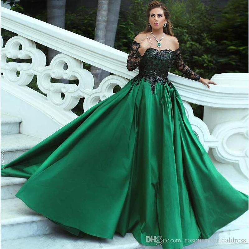 2baaf8ebaaeb Dark Green A Line Evening Dresses Long Sleeve Boat Neck Long Prom Dresses  with Black Lace Dubai Middle East Formal Gowns Red Carpet Dress Celebrate  Gowns ...