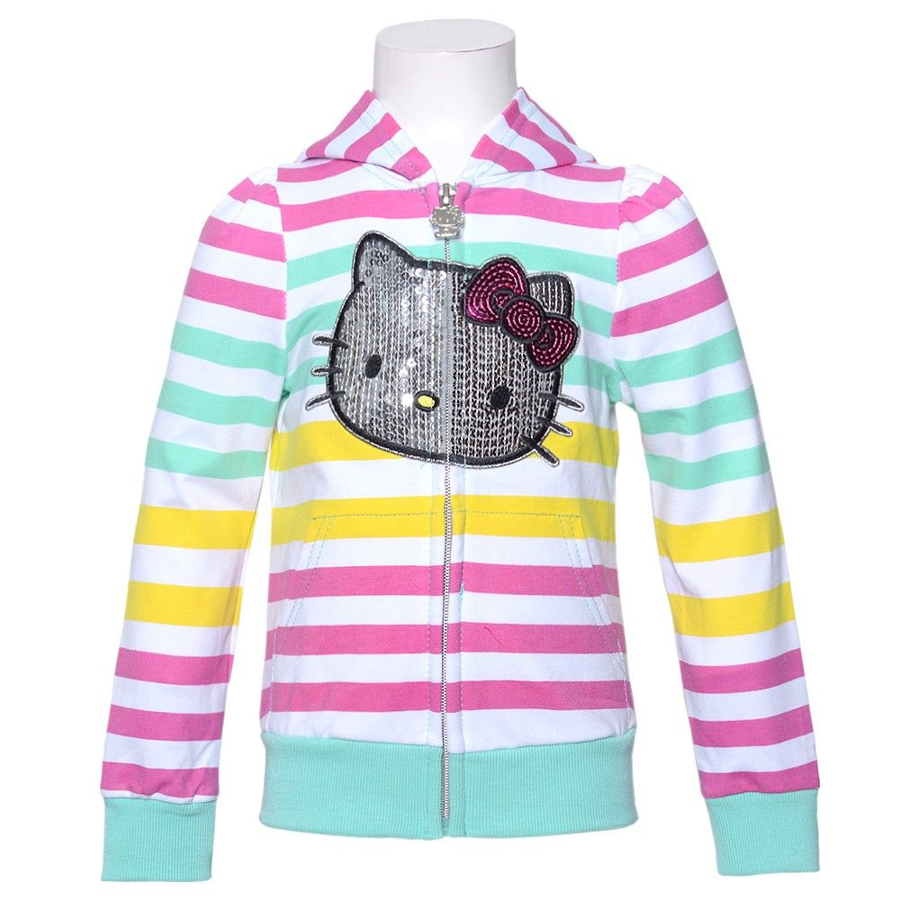 Hello Kitty Pink Green Sequin Stripe Zip Up Hoodie Jacket Girls 4 ...