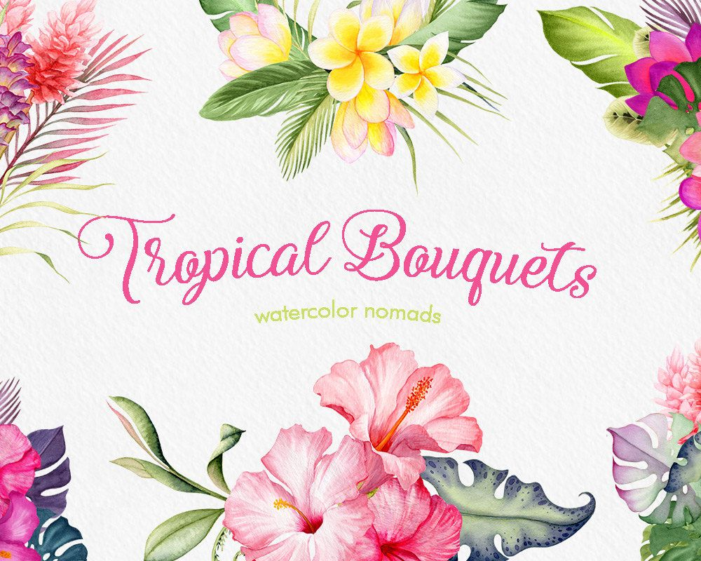 tropical flowers clipart watercolor clipart wedding clipart flower clipart instant download commercial use web graphics blog graphics by  [ 1000 x 800 Pixel ]