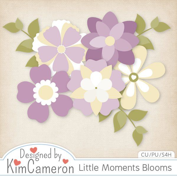 Daisies & Dimples Little Moments Blooms CU [kimcameron_littlemomentsblooms] - Create some beautiful blooms for most any kit with these simple flower templates! Includes a PSD and separate PNG layers for 5 flowers and some leaves. Commercial use ok!