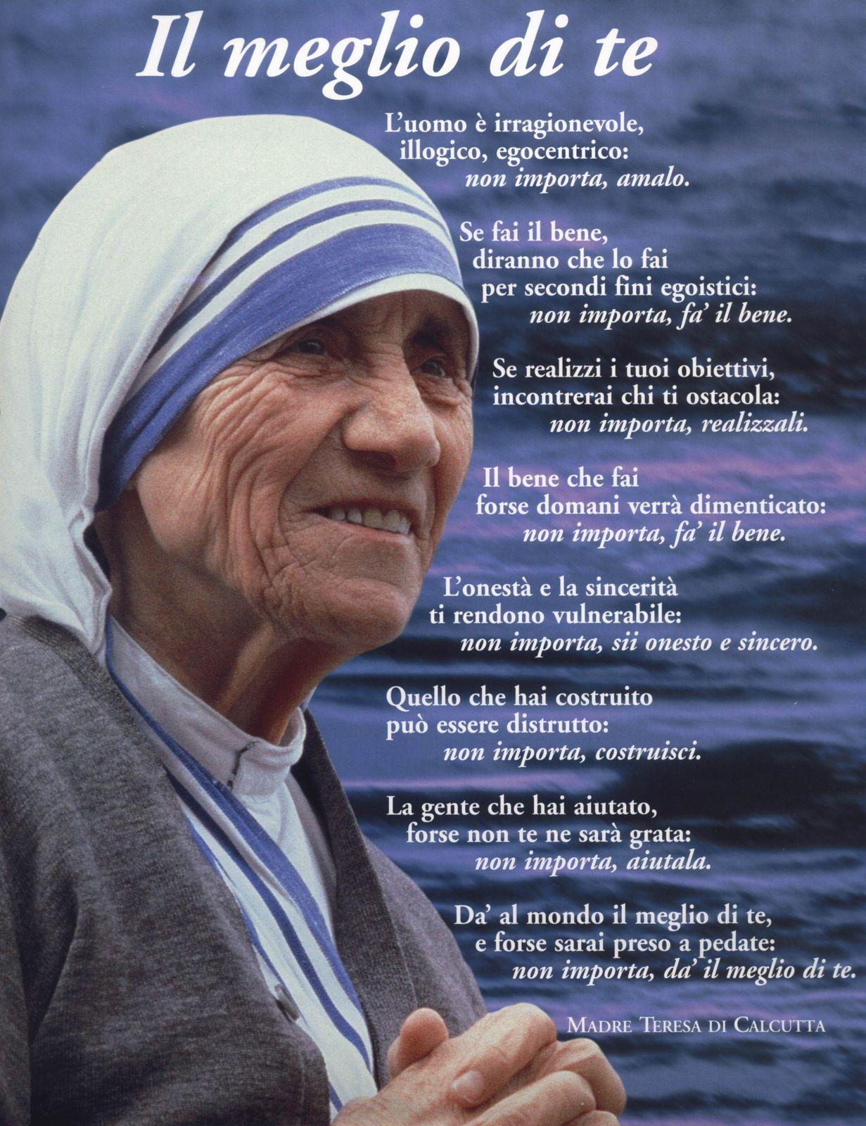 Madre Teresa Di Calcutta Frasi Sulla Famiglia Poesie Di Madre