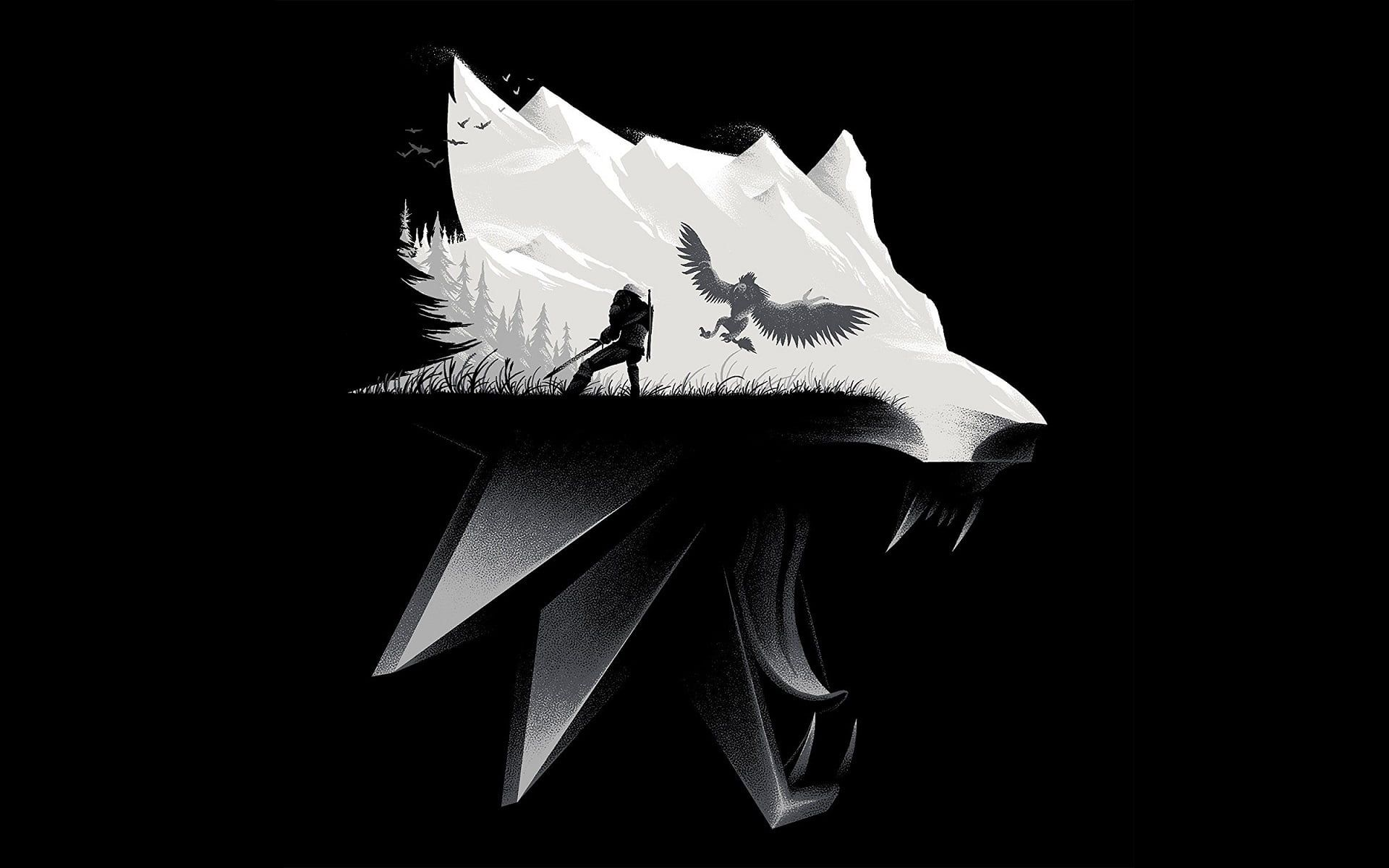 Black And White Wolf Illustration The Witcher Video Games Wolf The Witcher 3 Wild Hunt 1080p Wallpaper Hdwall Wolf Illustration Wolf Wallpaper The Witcher