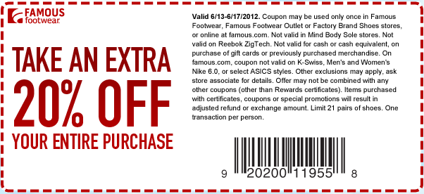graphic relating to Shoe Department Printable Coupon named 20% off acquire at Well-known Sneakers! #coupon CheckPoints