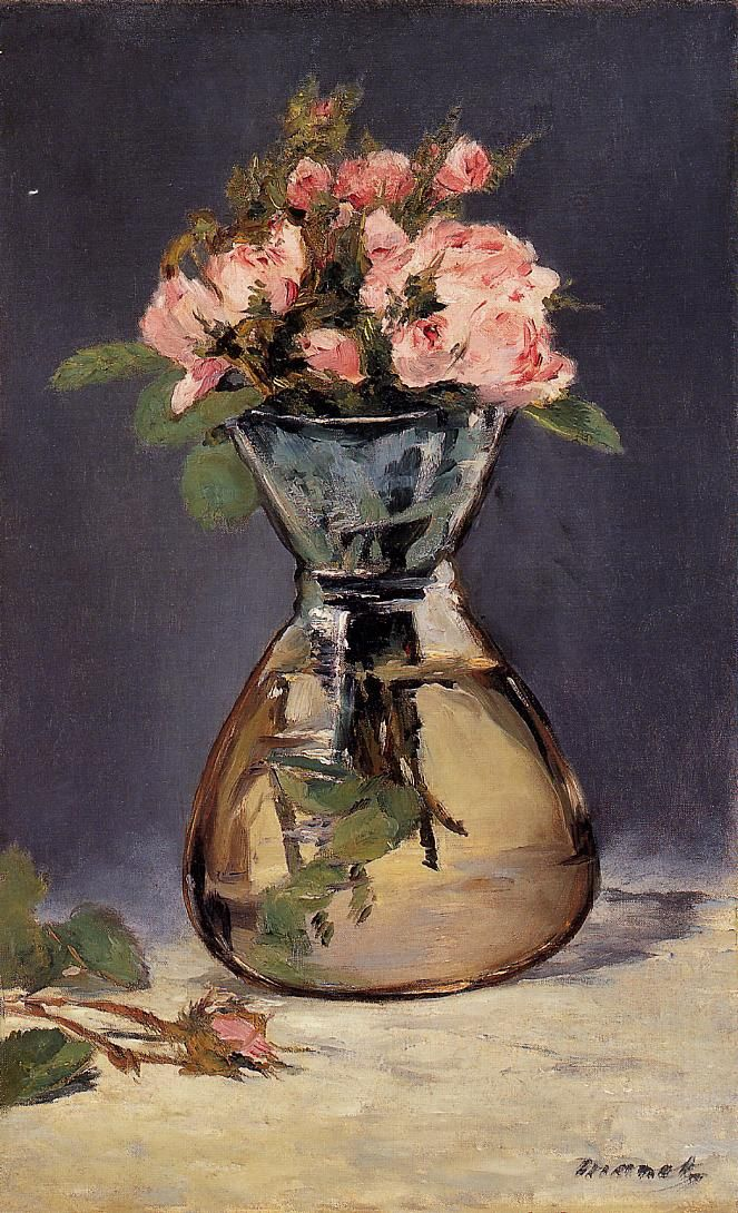Moss Roses In A Vase Edouard Manet 1882 Oil Famous Flowers