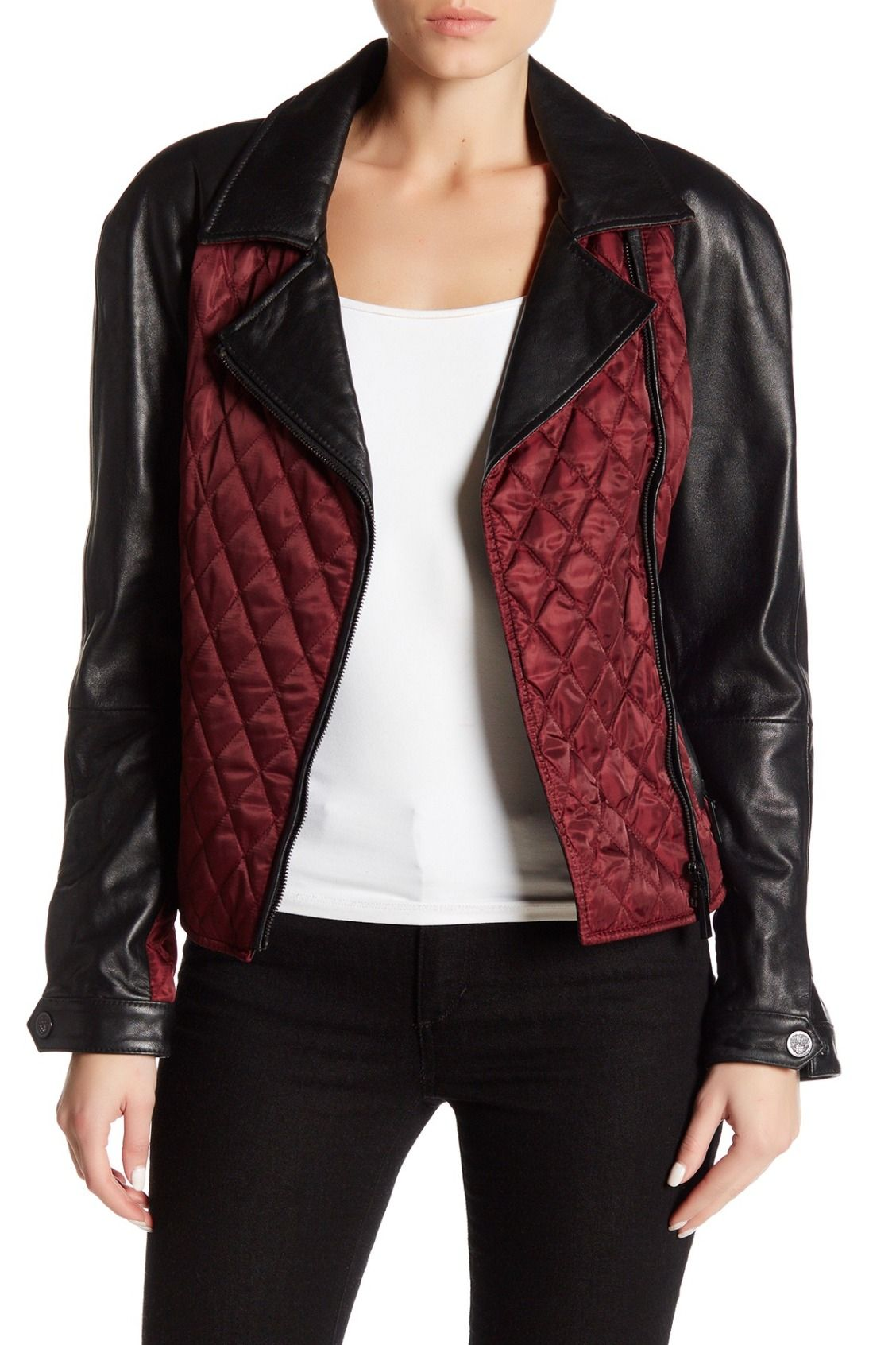 Vince Camuto Mixed Media Quilted Genuine Leather Sleeve Jacket Nordstrom Rack Leather Sleeve Jacket Leather Sleeve Jackets [ 1692 x 1128 Pixel ]