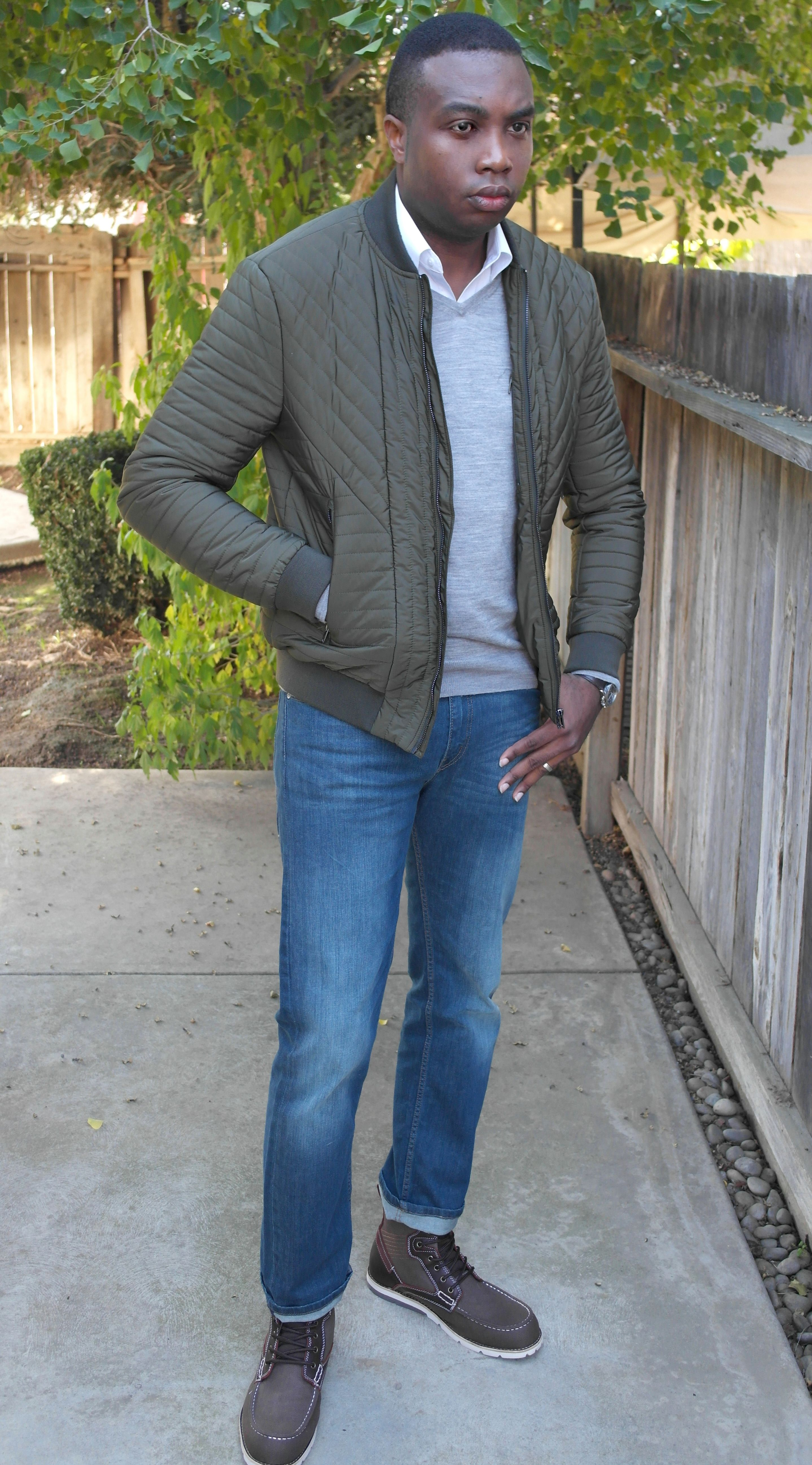 Green quilted bomber classic outfits menswear mens fashion