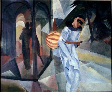 Clown (Pierrot), by August Macke (1887-1914). Oil on canvas, 1913. Museum der Stadt, Bielefeld, Germany