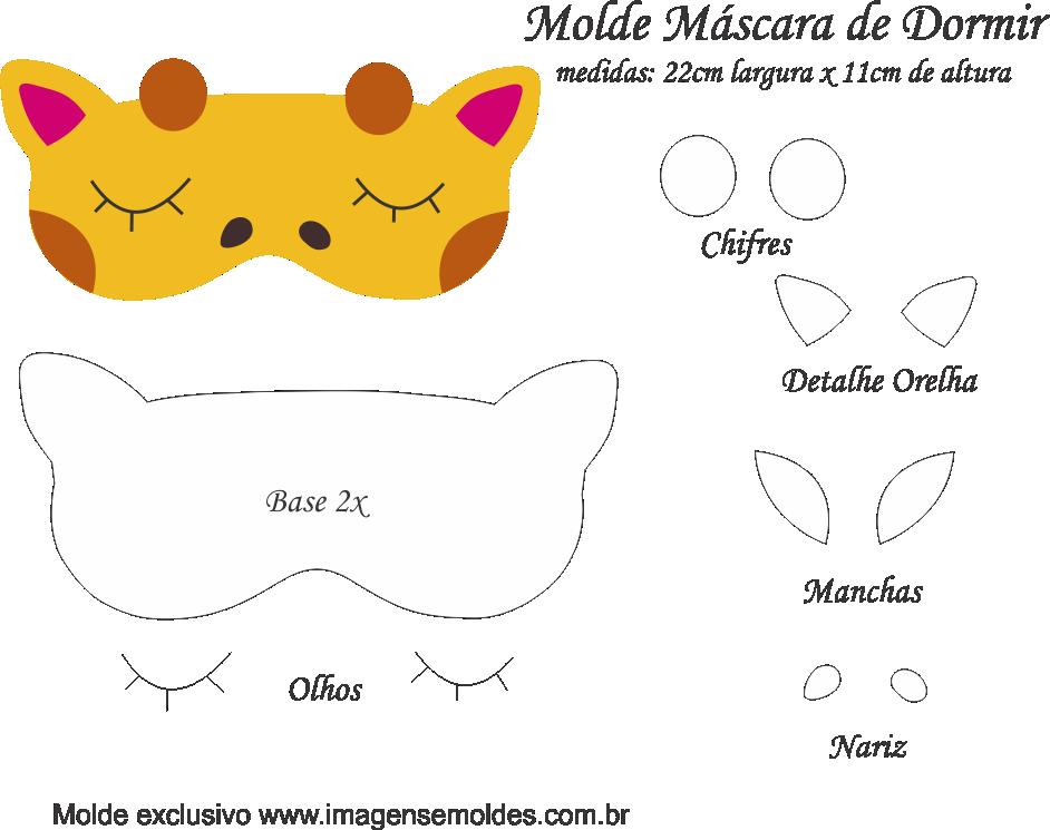 Molde Máscara de Dormir Girafa - Molde para Feltro - EVA e ...