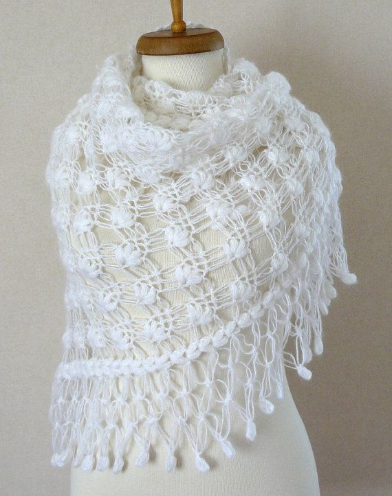 Crochet White Shawl White mohair Shawl por DokumaAccessories ...
