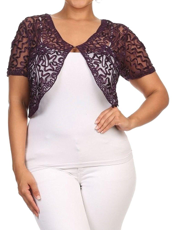 Womens Plus Size Shrug Short Sleeve Sheer Dressy Holiday Cropped ...