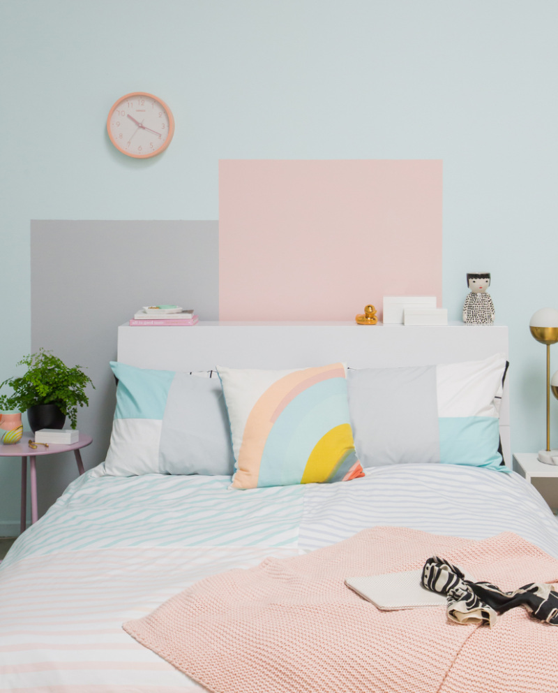 Diy Painted Wall Mural That Doubles As A Second Headboard Via Oh Joy Pastel Room Decor Pastel Room Pastel Bedroom