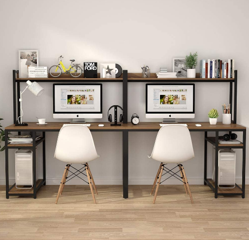 Pin On Study, Double Desk Home Office With Hutch