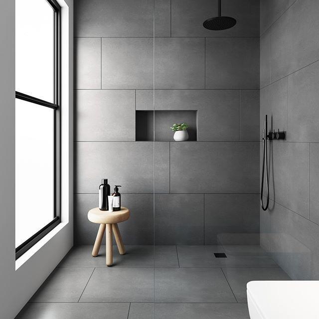 10 New Ways To Lay Wall Tiles And Floor Tiles In 2020 Grey Floor Tiles Grey Bathroom Tiles Minimalist Bathroom