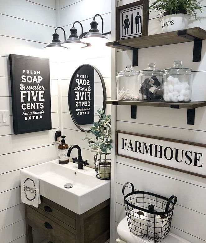 39 Half Bathroom Ideas Small Decor Powder Rooms The Conspiracy Apikhome Com Bathroom Farmhouse Style Farmhouse Bathroom Decor Small Bathroom Decor