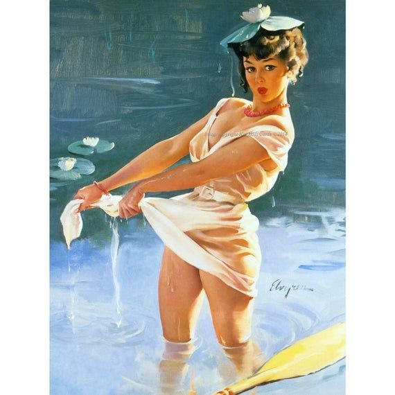 Pinup Girl Card - Falls Out of Canoe Upsetting Upset - Repro Elvgren - #canoe #elvgren #falls #PINUP #repro #upset #upsetting - #AlbertoVargas