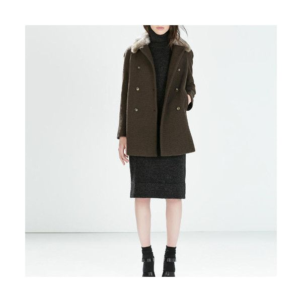 Green Long Sleeve Double Breasted Buttons Pockets With Fur Collar... ($115) ❤ liked on Polyvore featuring outerwear, coats, green, long sleeve coat, lapel coat, pocket coat, button coat and slim coat