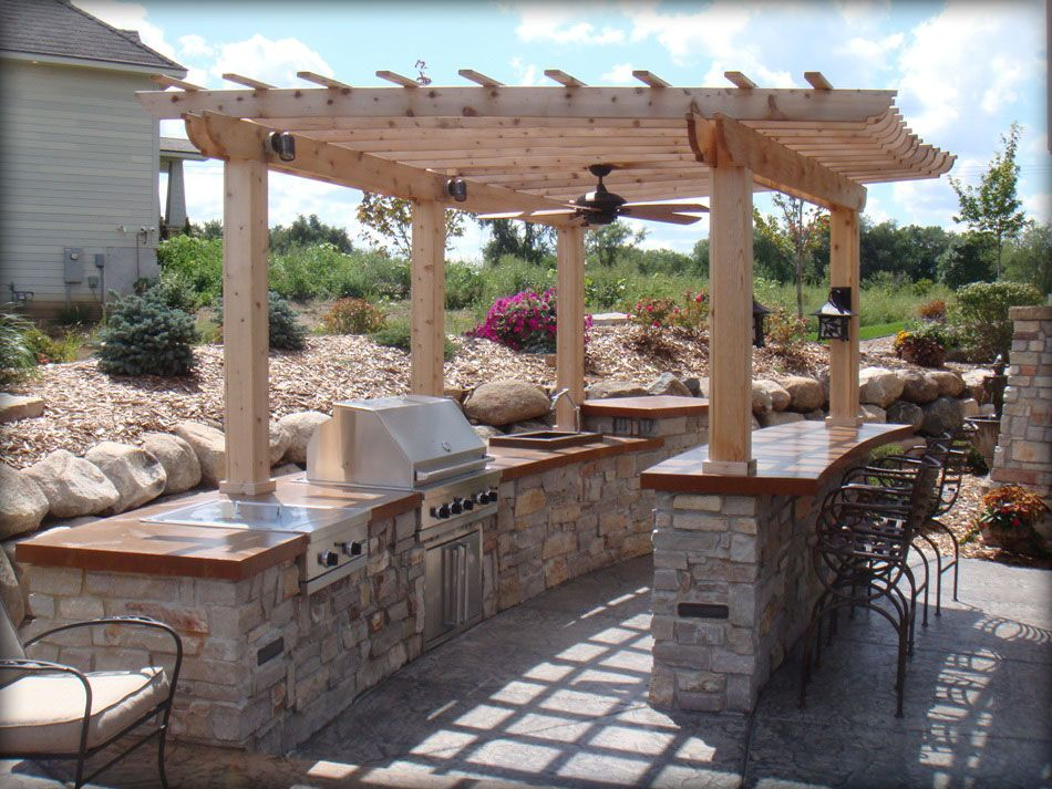 Pergola style outdoor grill space | Concrete patio designs ... on Patio Grilling Area id=69957