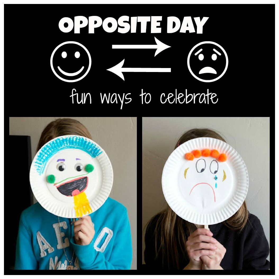 Opposite Day Craft Activity Teach Opposites With This Paper Plate Emotion Masks