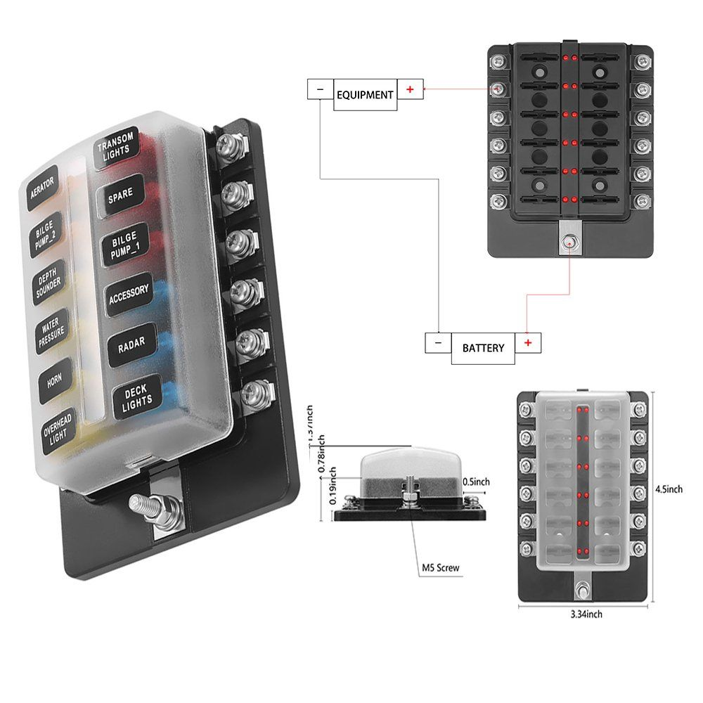 Blade Fuse Block Box Holder 12 Way With Led Indicator For Blown Fuse Suitable For Automotive Marine Boats Weiruixin 12way H Marine Boat Led Indicator Holder