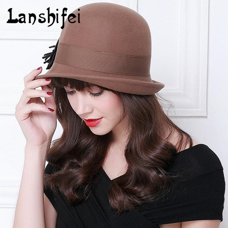 New Winter Cap Vintage Lady Fedoras Wool Felt Fedora Hats Women Black  Coffee Asymmetric Hat Brim Style Flowers British Hat 7e29e5dfbe9b