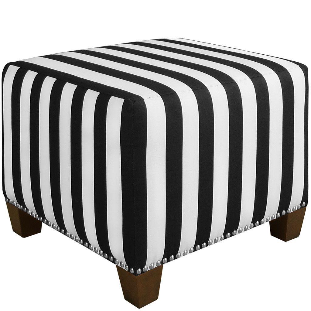 Skyline Furniture Square Nail Button Ottoman in Canopy Stripe Black ...
