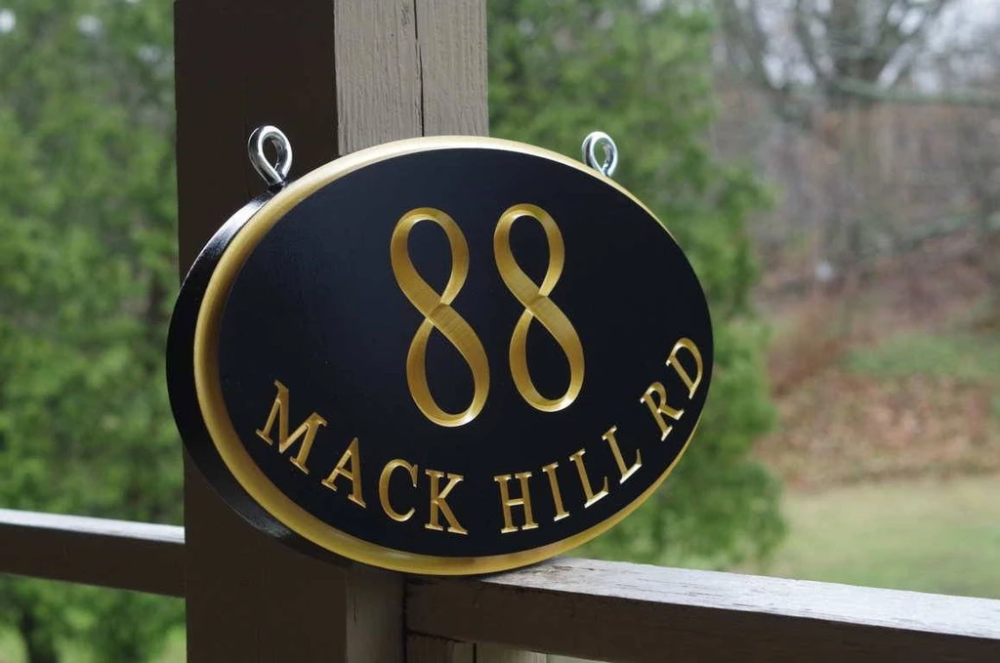 Address Marker Sign For Bracket Hanging With Street Name And Large House Number A172 With Images Address Marker Custom Carved Signs Large House Numbers