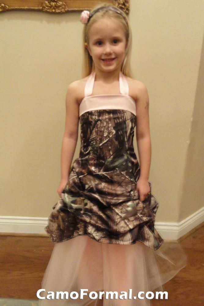 3ac7d36ac1e08 mossy oak flower girl. Why would you put such a pretty little girl in that  dress?