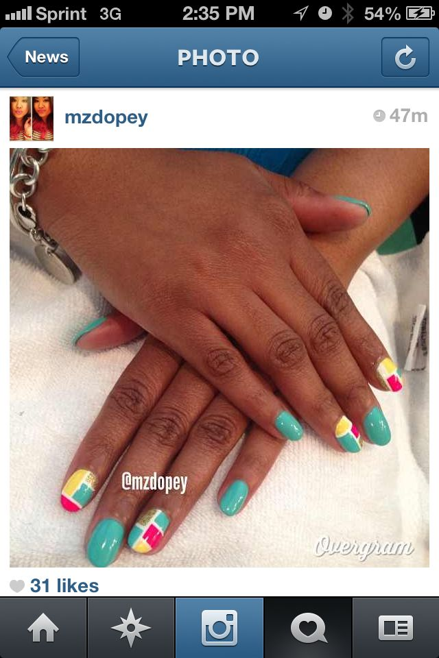 Geometric Nail Design by @mzdopey in ATL