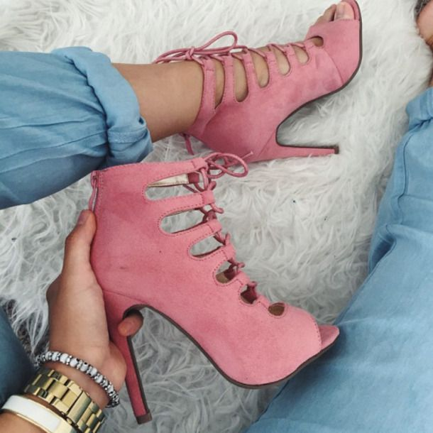 Beautiful Summer Spring Pink Suede Lace Up High Heeled Boots