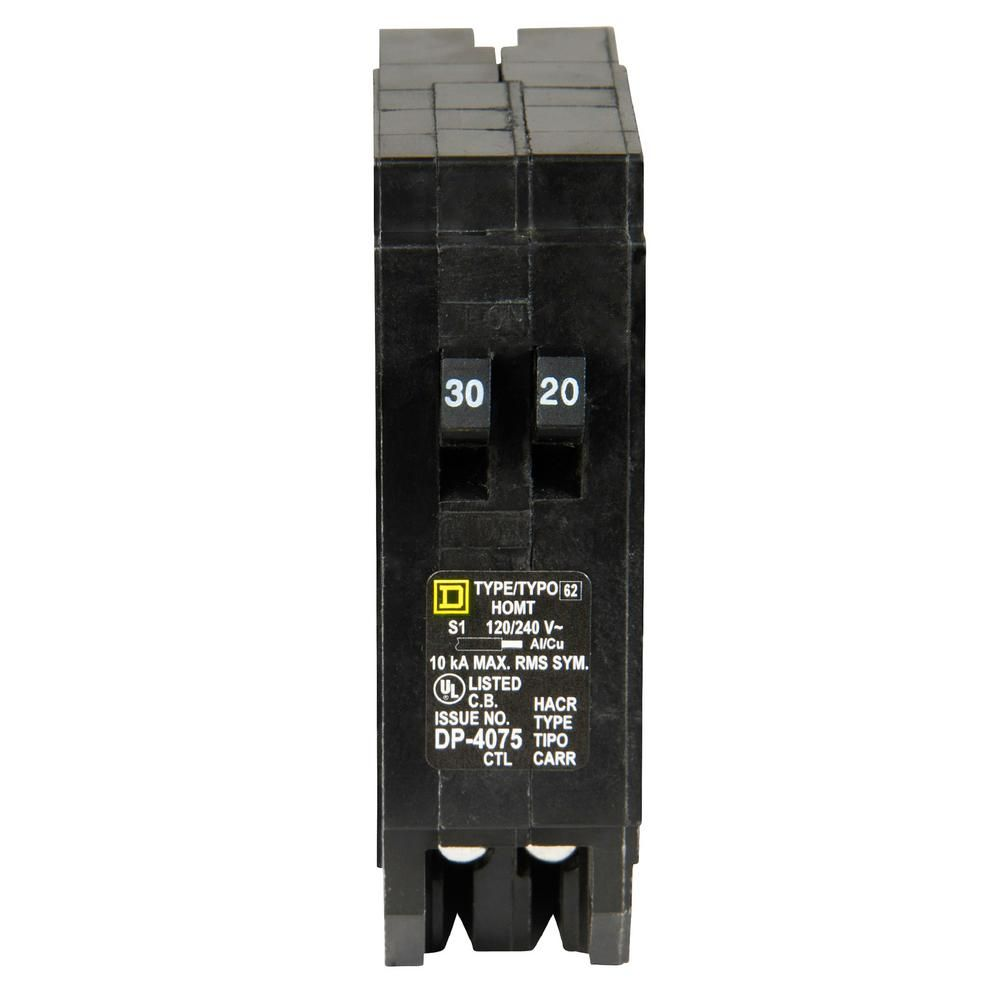 Square D Homeline 30 Amp 20 Amp Single Pole Tandem Circuit