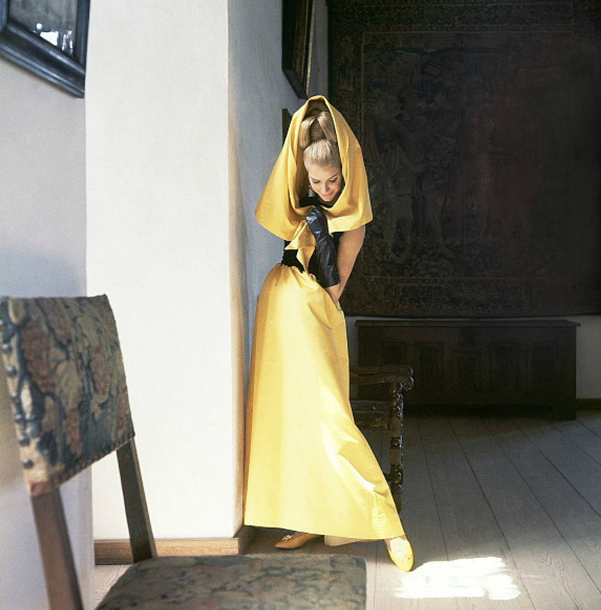 1964 yellow evening gown with black bodice and yellow cape by Nat ...