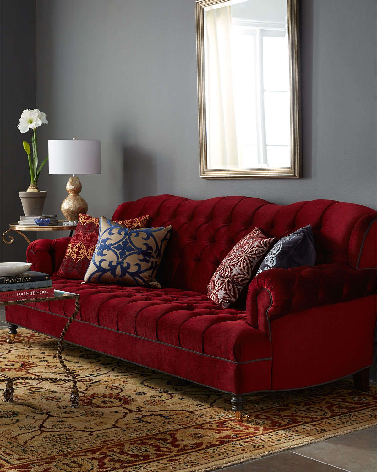 """Haute House Mr. Smith Cranberry Tufted Sofa 94.5"""" 