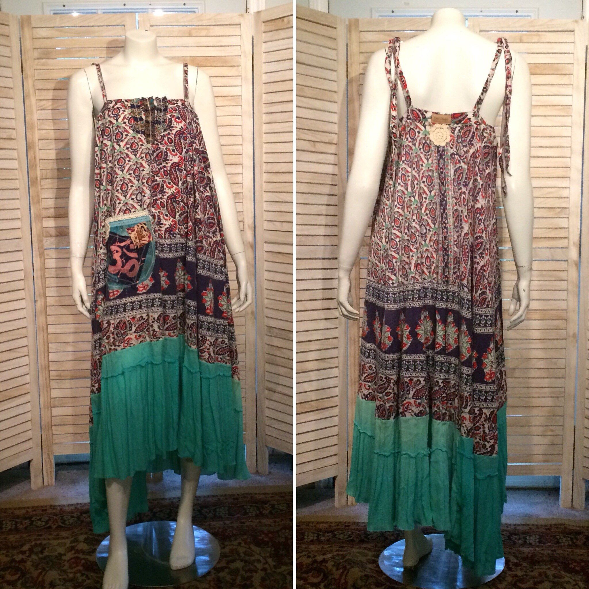 "Vintage Indian Dress Block Print Tiered Maxi Sundress Upcycled Clothing Boho Chic Earthy Eco One Size Fits Most Festival Upcycled Dress is part of Upcycle Clothes Boho -  OM Batik appliqué, scrappy patches, a mini crocheted doily, crocheted lace and embroidered ribbon trim   The silhouette is so simple and flattering; it looks superb on EVERYONE! A must have for summer… Measurements are as follows Top Band width 3846"" around Bust 29"" across laying flat  Length 4448"" from the top of centerfront on down the hem is asymmetrical for boho chic flare Please convo me with ANY questions! I LOVE custom orders too, so please don't hesitate to present me with your ideas  Thanks so much for looking… ~~ Peace & LIGHT! ~~ Chrisoula"