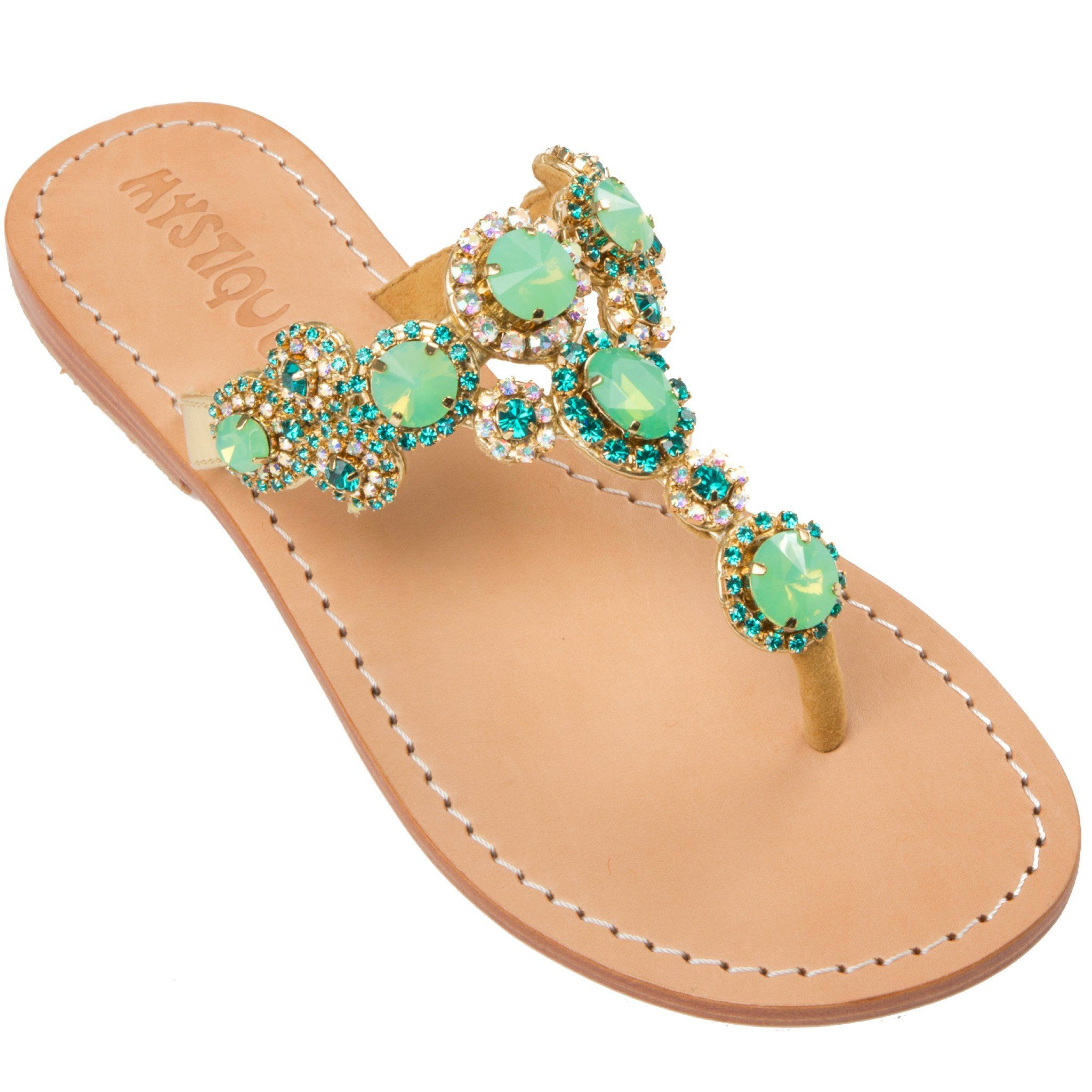 9a42d986bb55 St. Lucia-Women s Mint Green Leather Jeweled Sandals