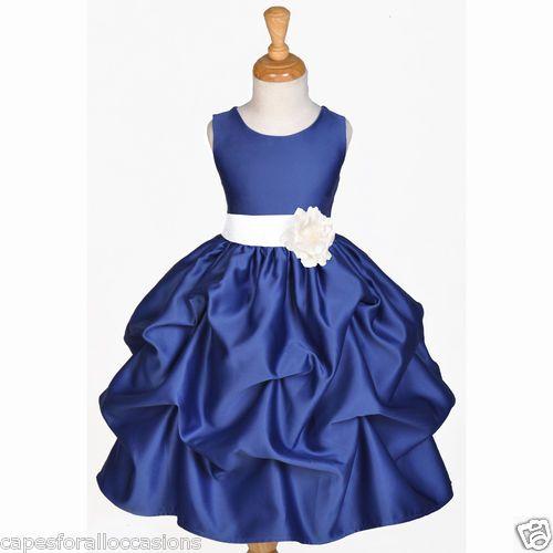 Navy blue flower girl dress wedding bridesmaid pick up 6m